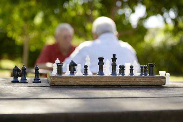 retired people, two senior men playing chess