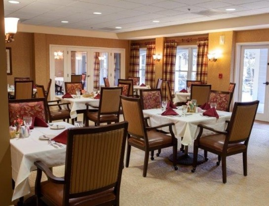 Enjoy a delectable meal among friends (without the cooking, cleaning or dishes to wash) in our elegant dining room.