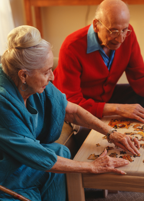 Senior couple doing jigsaw puzzle in living room